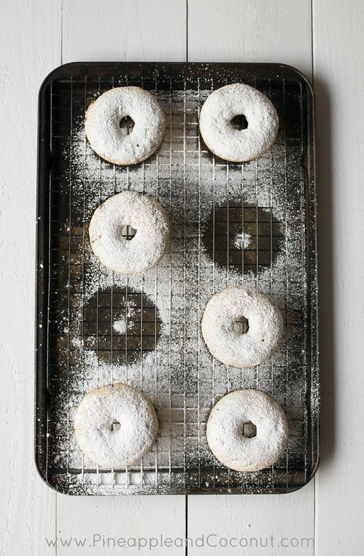 Gluten Free Vanilla Doughnuts with Mini Chocolate Chips www.pineappleandcoconut.com
