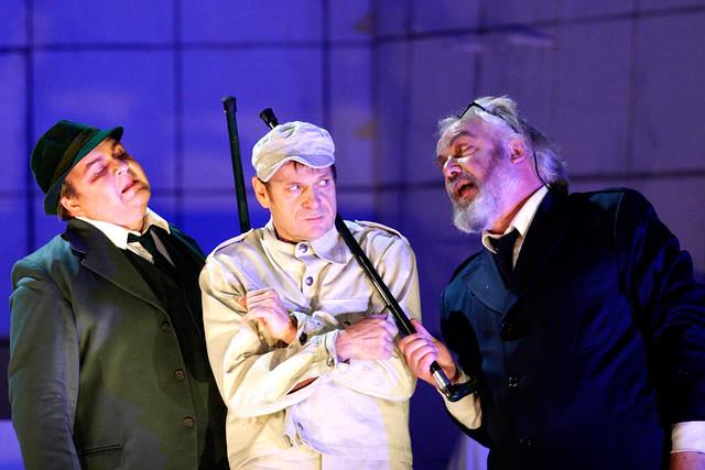 Gerhard Siegel as the Captain, Simon Keenlyside as Wozzeck and John Tomlinson as the Doctor in Wozzeck © ROH / Catherine Ashmore 2013