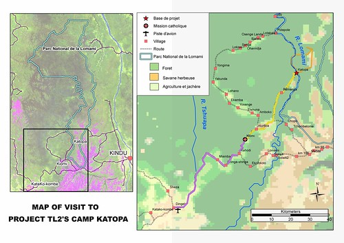 Map of the visit to the future Lomami National Park