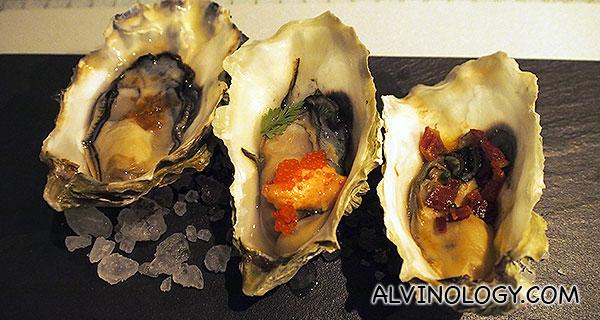 The Sleeping Oysters - Mentaiyaki (mentaiko, chiko, lemon juice and aioli); Chilean (serrano, lime juice, red wine vinegar, cilantro); Kilpatrick (lardon of bacon, worchestershire, chives) - S$34 for 1/2 dozen each