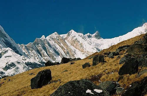 autumn nepal mountain snow 2004 analog trekking trek landscape 1 rocks wind peak glacier round summit himalaya annapurna sanctuary fang annapurnas canoneos300 chuli i bharha