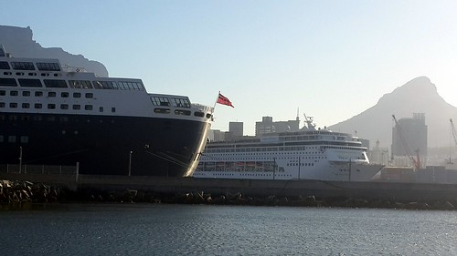 QM2 and MSC Sinfonia - Cape Town Harbour 27th January 2014 by chrisLgodden