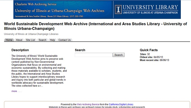 Screenshot of the World Sustainable Development Web Archive webpage.