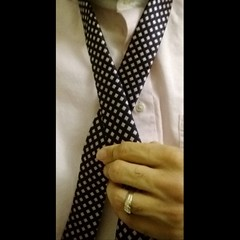 Currently putting a Andrew's Ties pink & navy tie (via @shopties) through the paces for an upcoming review. So far so good. #style