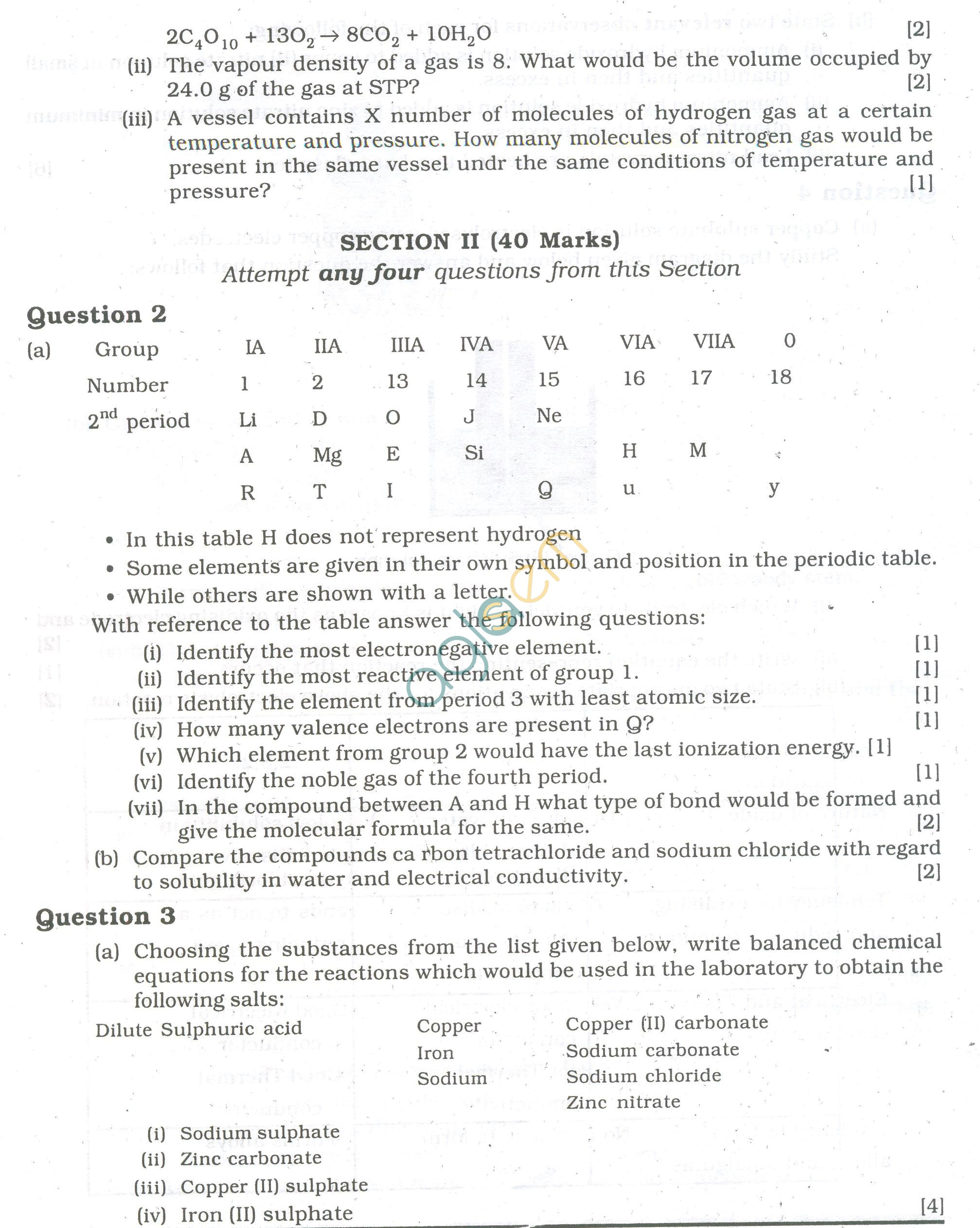 ICSE Question Papers 2013 for Class 10 -Chemistry