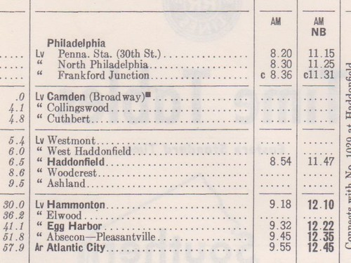 PR Seashore Lines 1961 Philadelphia to Atlantic City