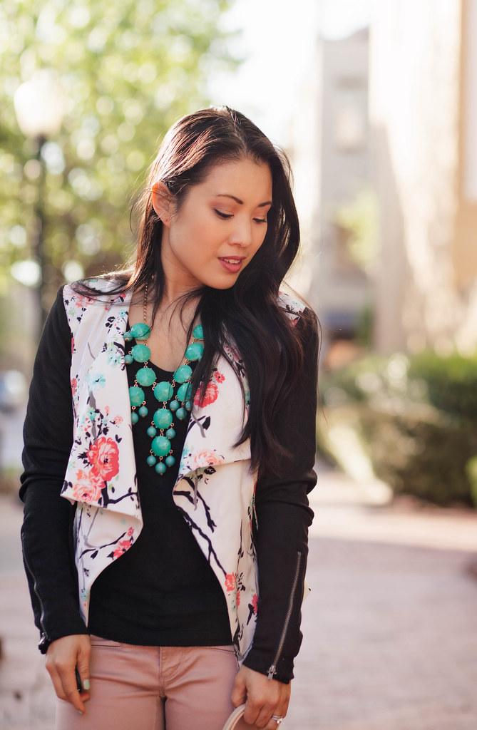 cute & little blog | petite fashion | floral moto jacket, mint bubble necklace, pink moto pants outfit