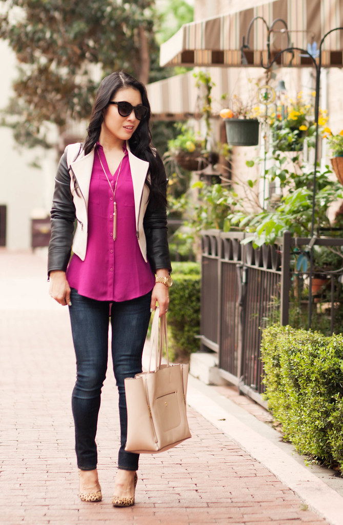 cute & little blog | petite fashion | edgy casual spring outfit | sheinside contrast leather sleeve moto jacket, radiant orchid portofino shirt, skinny jeans, tassel necklace