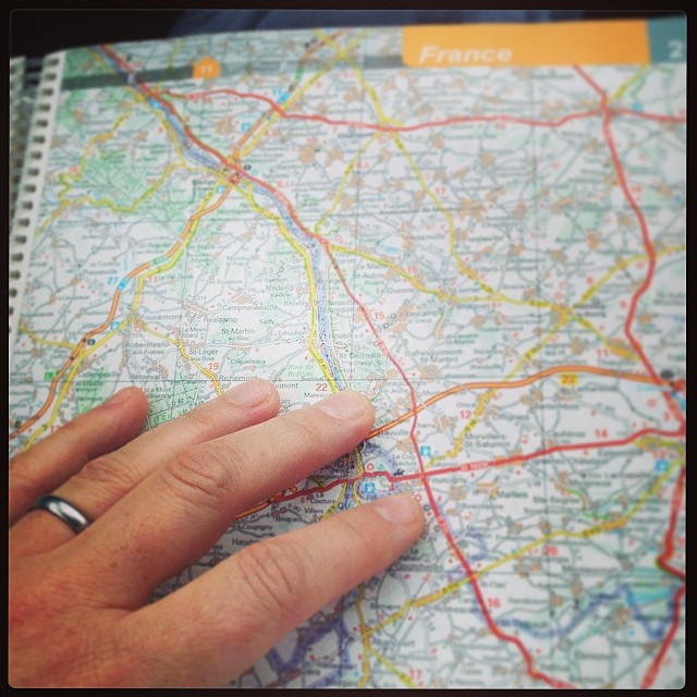 Successful navigation around Rouen's missing Pont de Mathilde - and successful avoidance of Paris. Surprisingly tricky when every sign and slip road attempts to suck you towards Paris whether you are aiming for it or not. #france #roadtrip #navigation