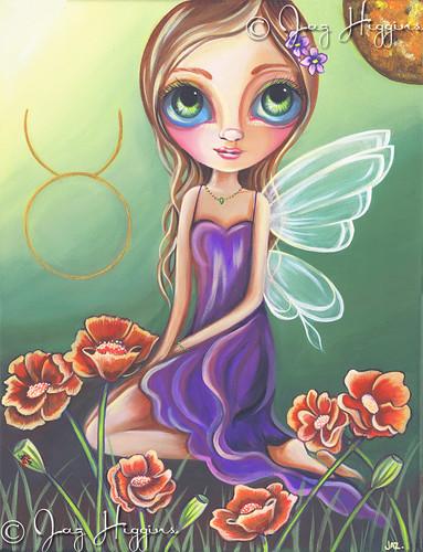 """Taurus"" Zodiac Fairy Painting by Jaz Higgins"