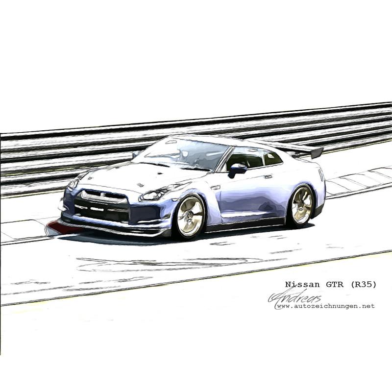 Nissan GTR (R35) by www.autozeichnungen.net