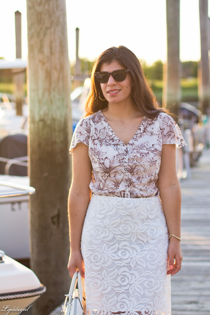 brown and white floral blouse, white lace skirt-3.jpg