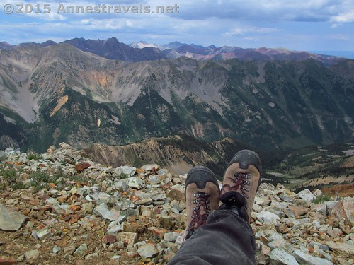Resting my hiking boots at the top of Electric Pass, White River National Forest, Colorado
