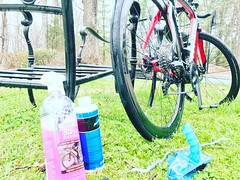 Thoroughly cleaning my bike after over 30 miles of #gravelride during #teamvelocipede cycling camp @ascentbicyclestudio