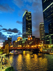 Chicago River, after dark, October 2016