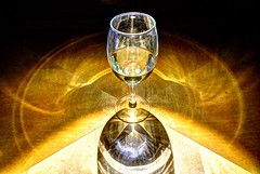Wine glass in limelight