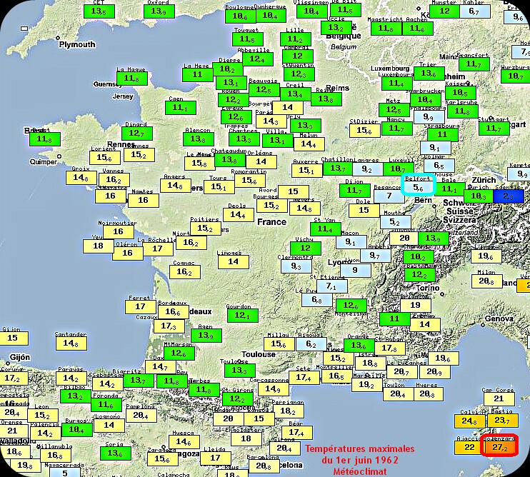 températures maximales et records de fraîcheur du 1er juin 1962 météopassion