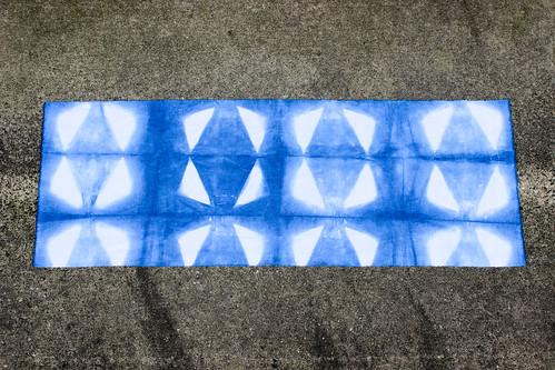 Indigo Itajime Shibori - Right Triangles by Jeni Baker