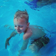 Swimming is more fun in the warm kiddie pool #swim #lovethem #summerlovin