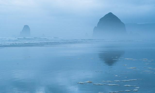Foggy Haystack Landscape