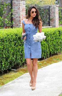 Shay Mitchell Denim Dress Celebrity Style Women's Fashion