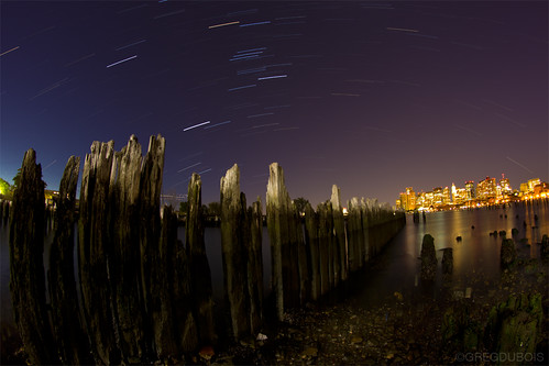 Star Trails over Boston Skyline and Dilapidated Pilings, Carlton's Wharf East Boston by Greg DuBois Photo