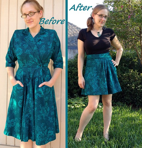 Emerald Wrap Skirt Refashion - Before & After