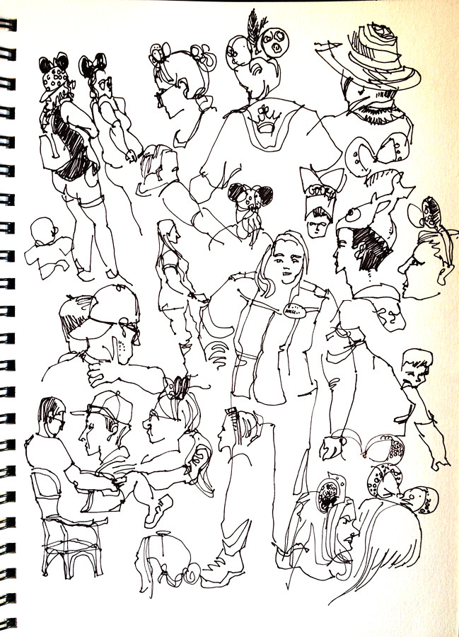 People sketches at Disneyland, Anaheim, California