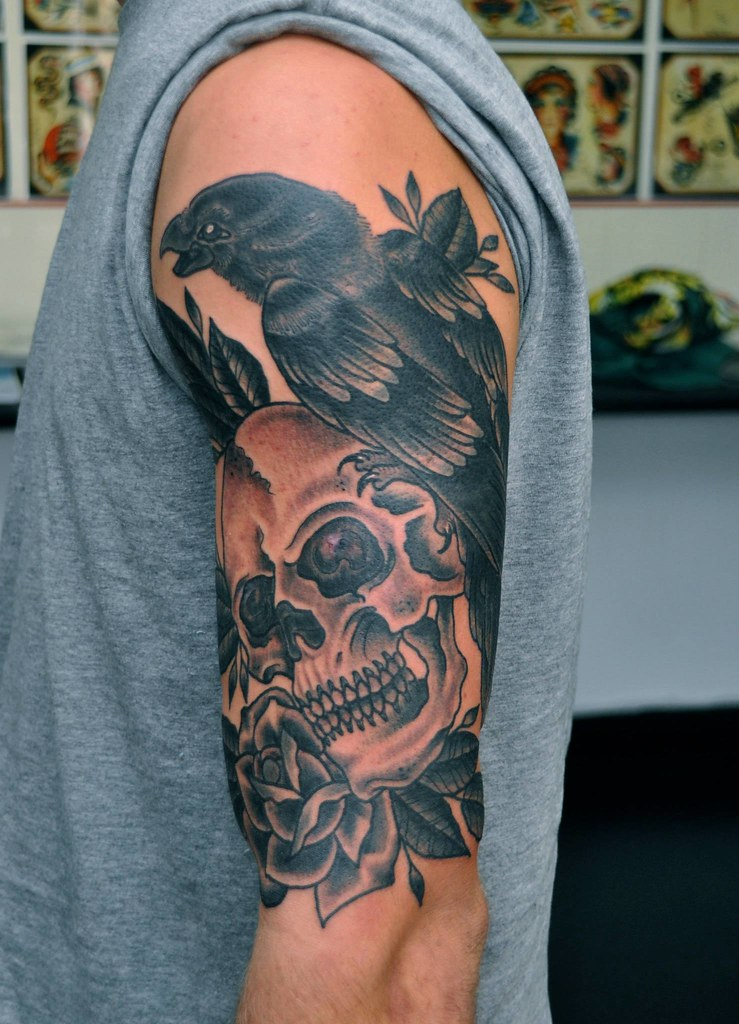Traditional Skull And Raven Tattoo By Phil Gibbs Stand Proud