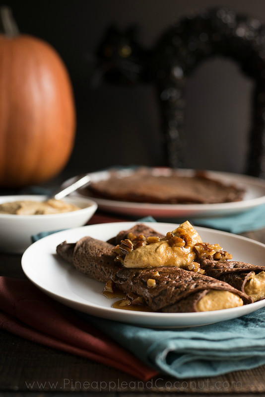 Chocolate Crepes with Spiced Pumpkin Butter and Maple Pecan Syrup www.PineappleandCoconut.com