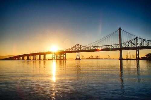 water sunrise bay baybridge eastspan canonrebelxsi