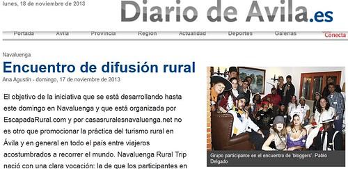 Mención en Diario de Ávila