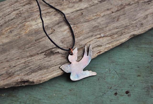 copper swallow pendant