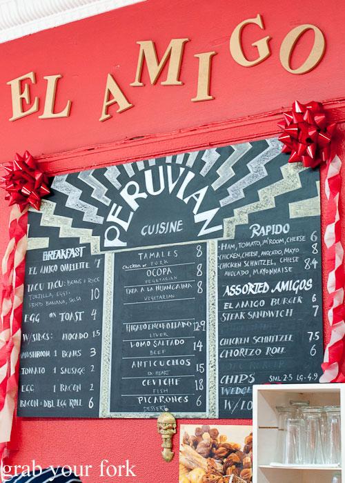 El Amigo Peruvian cuisine menu