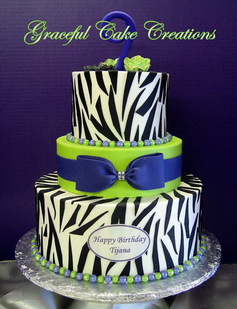 Purple, Lime Green and Zebra Print Birthday Cake - a photo on ...