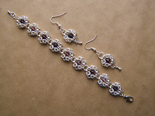 "Bracelet and earrings - ""amethyst crystal"""
