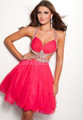 Popular Baby Doll Tulle Halter Backless Cocktail Dress With Beading