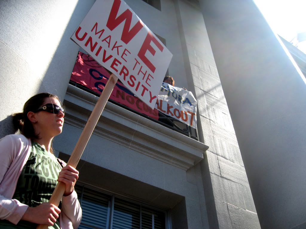 Protest against fee hikes at UC Berkeley in September 2009.