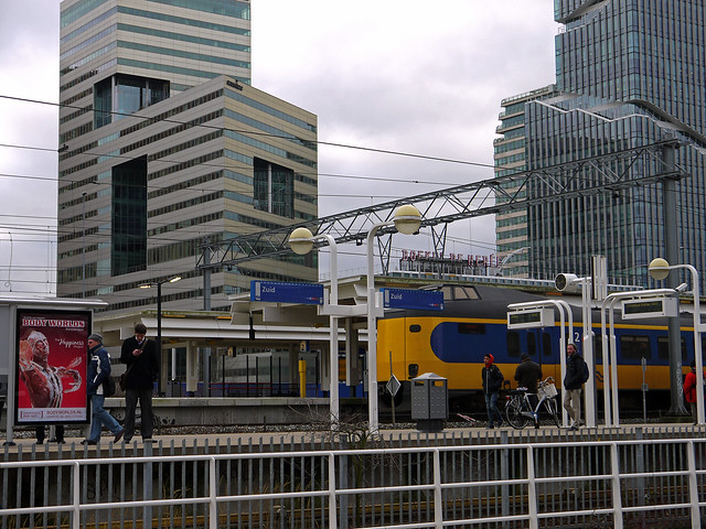 Platform at the station Zuid near the Zuid-As in Amsterdam City, photo of 2014