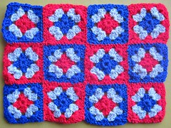 Crochet doll's cot quilt