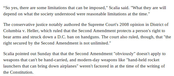 Huffington post screenshot on Justice Scalia and the Second Amendment