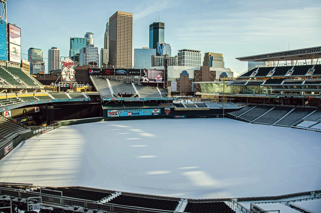 Target Field blanketed in snow