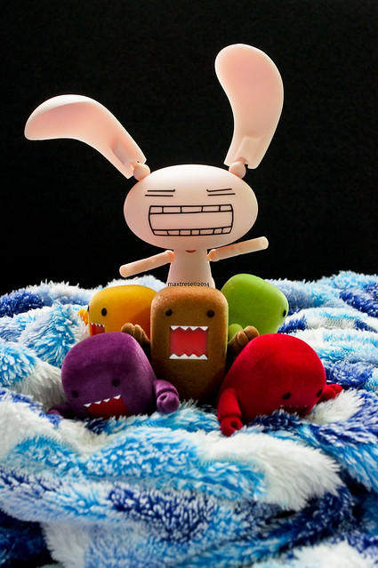 Domo and Company pranks Revoltech Jun Mihara as the Easter Bunny
