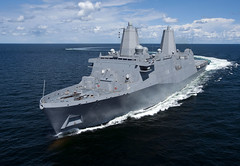 Somerset operates in the Gulf of Mexico during builder's sea trials in 2013. (U.S. Navy file photo)