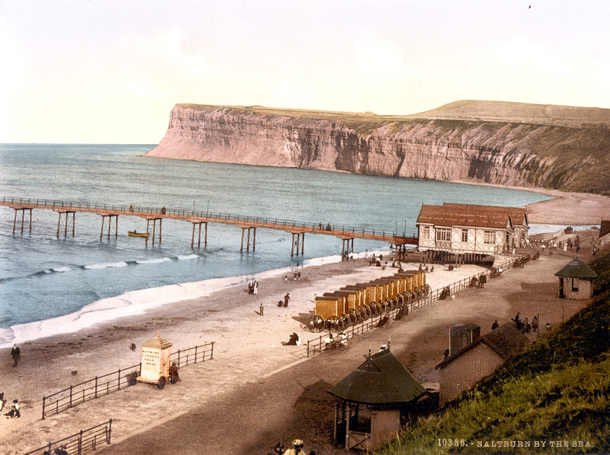 Saltburn-by-the-Sea Pier and bathing machines, Yorkshire, 1895