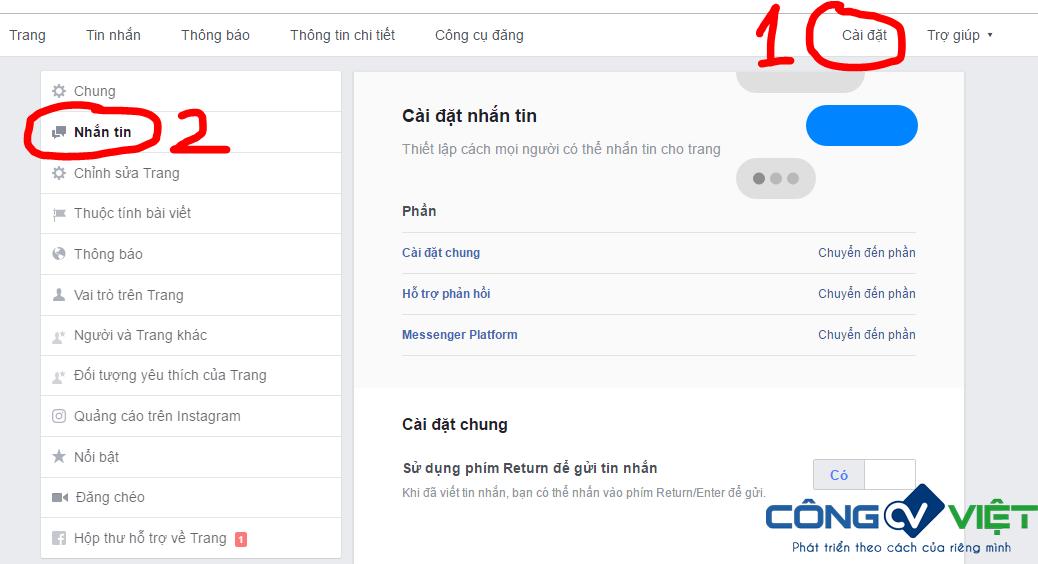 Hình 1: Cách cài đặt bật tin nhắn Trả Lời Nhanh trên Fanpage