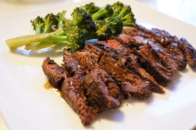 Hanger Steak and Broccoli with Balsamic Raspberry Vinaigrette
