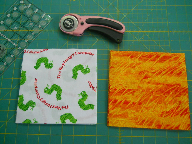 Hungry caterpillar fabric squares