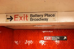 New and old exit signs at Bowling Green Station