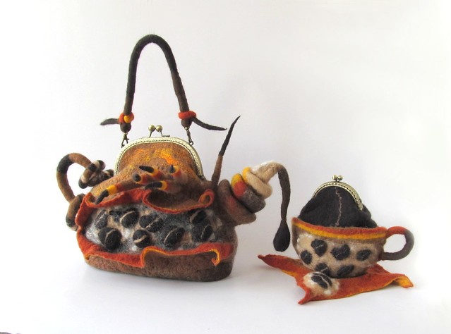 Coffee set - felted teapot purse and felted cup purse  - Out of Africa